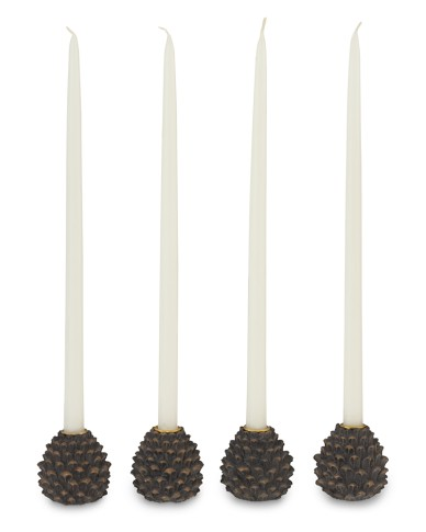 Tiny pinecone candle holders