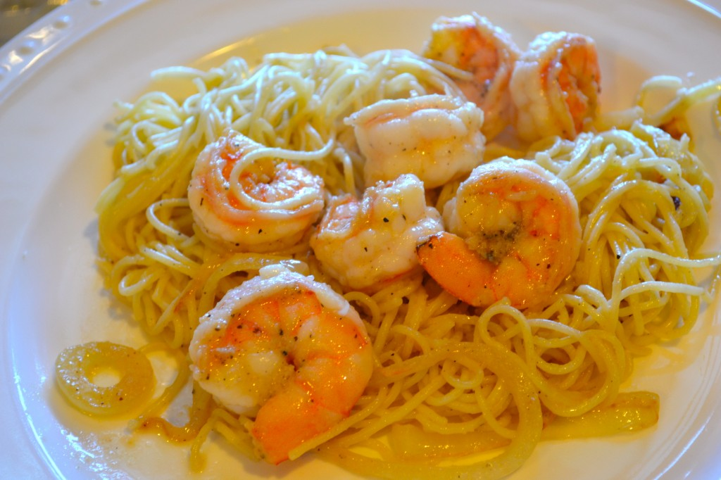 Angel hair pasta & garlic shrimp